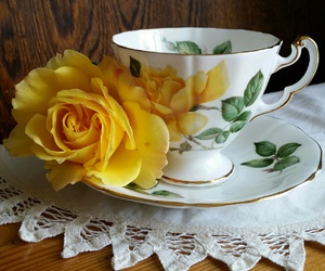 pretty, tea, and rose image