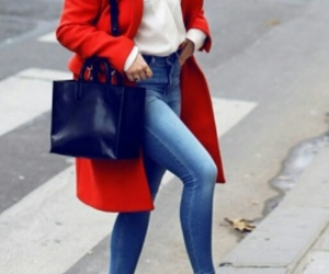 white shirts, long red coats, and black pumps image