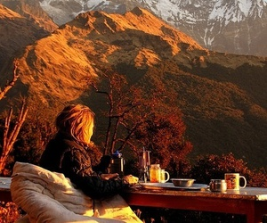 mountains, nature, and breakfast image