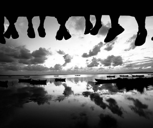 black and white, friends, and feet image