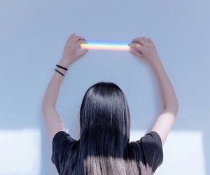 rainbow, girl, and grunge image