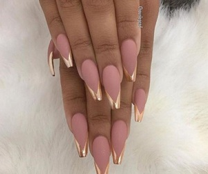 nails, gold, and pink image