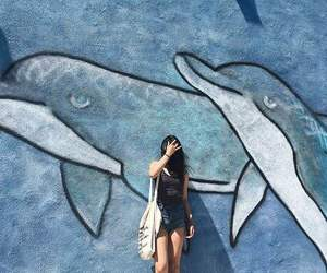 dolphins, girl, and summer image