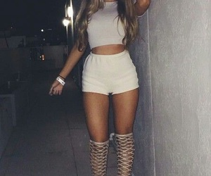 heels, long hair, and thick image