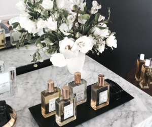 flowers, girl, and perfume image
