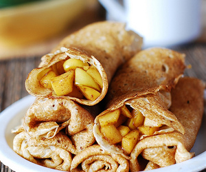 food, apple, and crepes image