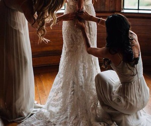 wedding, dress, and bride image