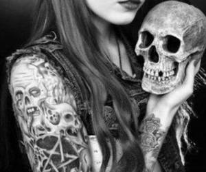 skull, tattoo, and girl image