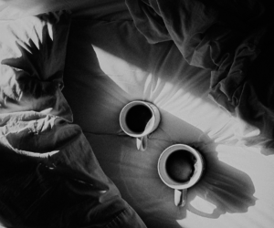 coffee, bed, and black and white image