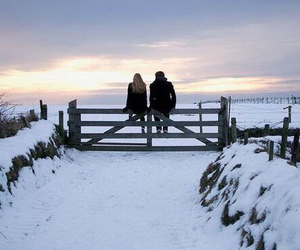 snow, cold, and couple image