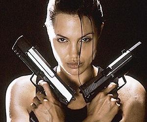 Angelina Jolie, lara croft, and gun image