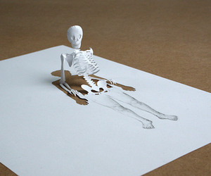 art, Paper, and skeleton image