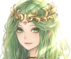 anime, green hair, and palutena image