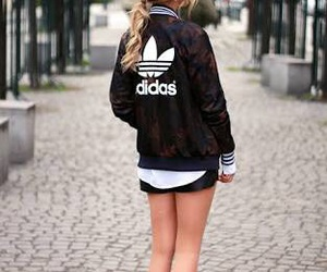 adidas, black and white, and blonde image