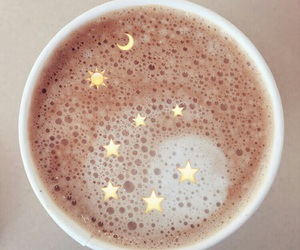coffee, stars, and moon image