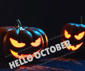easel, hello october, and Halloween image