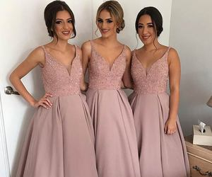 bridesmaid dress, bridesmaid dresses, and v-neck bridesmaid dress image