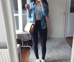 gold necklaces, long straight black hair, and white sneakers image