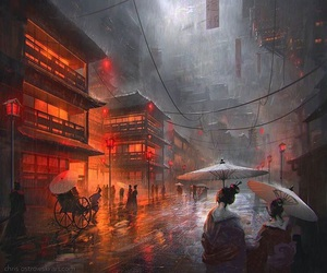 art, japan, and rain image