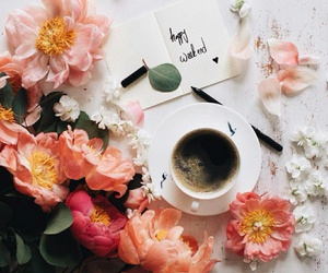 coffe, flowers, and pen image