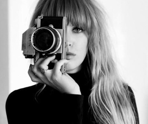 girl, camera, and black and white image