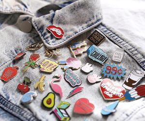 fashion, jacket, and pins image