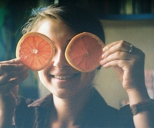girl, orange, and smile image