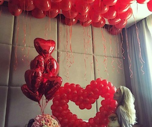heart, red, and balloons image