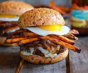 burger, delicious, and fries image