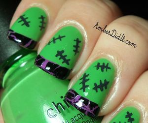 Halloween, nails, and green image