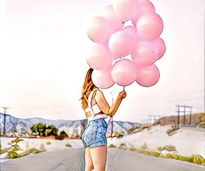 balloons, girl, and landscape image