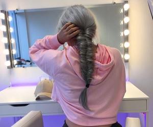 pink, braid, and hair image