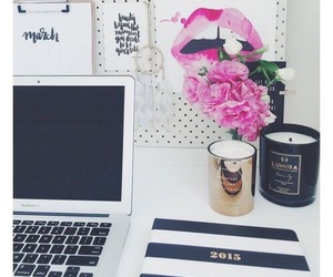 flowers, desk, and office image