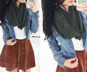 infinity scarf, white tank top, and blue denim jacket image