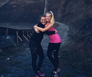 exercise, happy, and sisters image