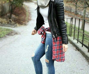 black leather jacket, plaid shirts, and infinity scarf image