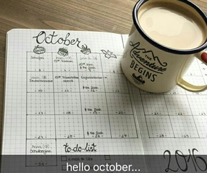 calendar, coffee, and october image