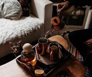 tea, cat, and coffee image