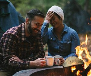 camping and happy couple image