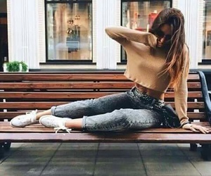 body, jeans, and long hair image