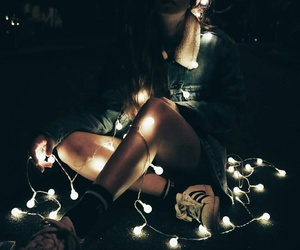 girl, light, and fairy lights image