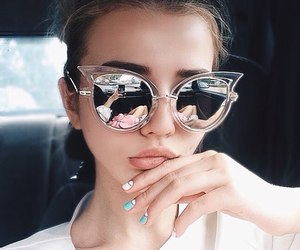 girl, fashion, and sunglasses image