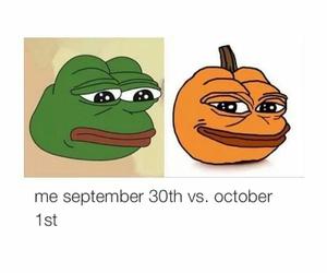 frog, october, and pumpkin image