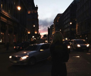 girl, cars, and night image
