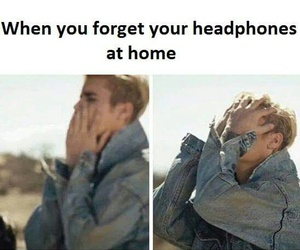 funny, headphones, and justin bieber image