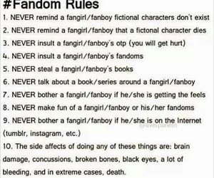 fangirl, fanboy, and fandom rules image