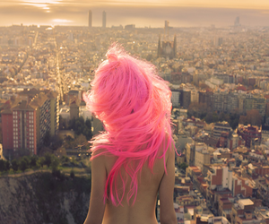 pink, hair, and city image