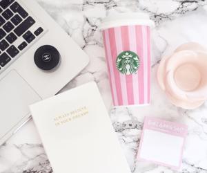 interiors, pink, and starbucks image