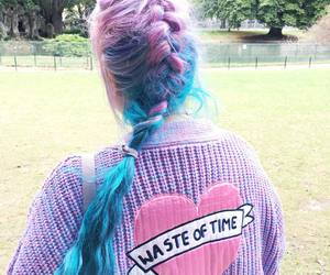 colored hair, grunge, and fashion image