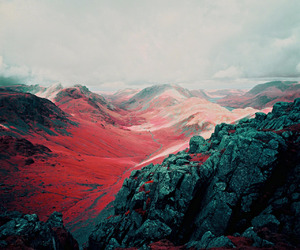 mountains, nature, and red image